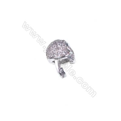 925 sterling silver platinum plated skull design CZ jewelry accessories 5x7mm x 5pcs