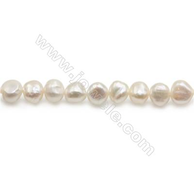 "Fresh Water White Pearl Beads Strand  Irregular  Size 8~9mm  Hole 0.8mm  15~16"" x 1strand"