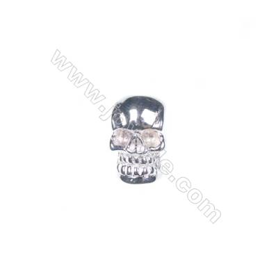 925 sterling silver skull jewelry accessories, 7x11 mm, x 5pcs, hole 3 mm