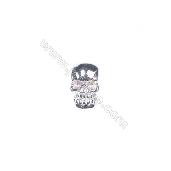 925 sterling silver skull jewelry accessories, 7x11 mm, x 5pcs, hole 3 mm
