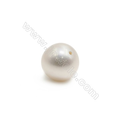 Natural White Pearl Half-Drilled Beads  Round  Diameter 8.5~9mm  Hole 0.8mm  10 pcs/pack
