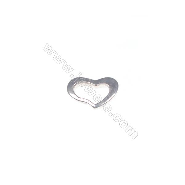 Heart-shaped 925 sterling silver jewelry accessories, 5x7 mm, x 100pcs
