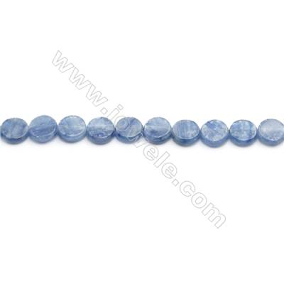 Natural Kyanite Beads Strand  Flat Round  Diameter 8mm  hole 0.8mm  about 51 beads/strand 15~16""