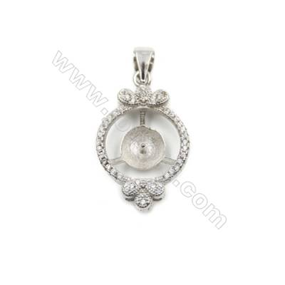 925 Sterling silver platinum plated CZ inlaid pendants, 16x23mm, x 5 pcs, tray 7mm, needle 0.8mm