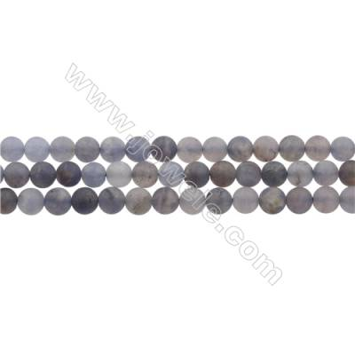 "Matte Natural Iolite Gemstone Bead Strand, Round, Diameter 6mm, Hole 0.8mm, 15~16""/strand"
