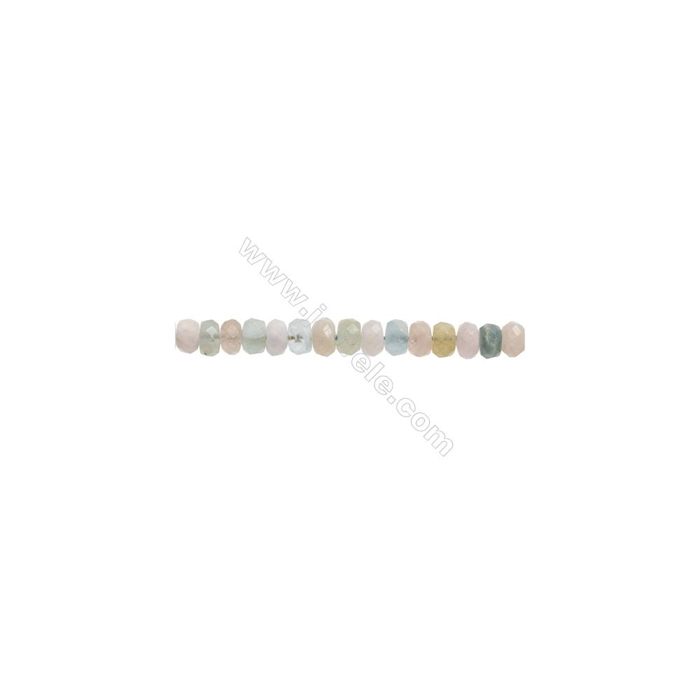 """Natural Morganite Beryl Beads Strand  Faceted Abacus  Size 5x8mm  Hole 0.8mm  about 85 beads/strand  15~16"""""""