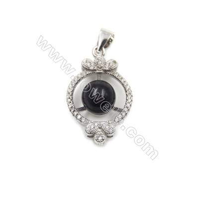 925 Sterling silver platinum plated  CZ  inlaid pendants -D5454 16x23mm x 5 pcs disc diameter 7mm  needle diameter 0.8mm