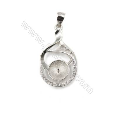 Sterling silver 925 platinum plated CZ pendant, 16x27mm, x 5 pcs, tray 9mm, needle 0.9mm
