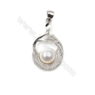 Sterling silver 925 platinum plated CZ pendant-D5557 16x27mm x 5 pcs disc diameter 9mm needle diameter 0.9mm