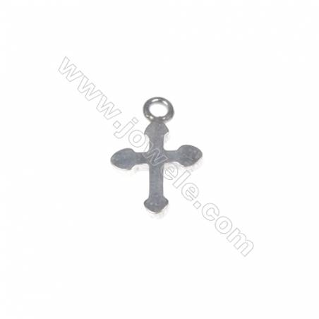 925 sterling silver cross jewelry accessories, 8x12mm, x 40pcs, hole 1.5mm