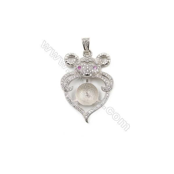 Silver 925 platinum plated CZ pendants, 22x30mm, x 5 pcs, tray 9mm, needle 0.8mm