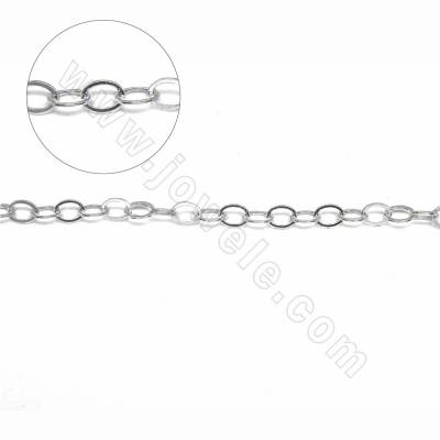 Sterling silver flat cable chain cross chain for jewelry making-H8S8 size 3.5x4.7mm thick 0.6mm x 1metre
