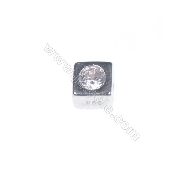 925 sterling silver platinum plated cube jewelry accessories, 4x4mm, x 20pcs, hole 0.8mm