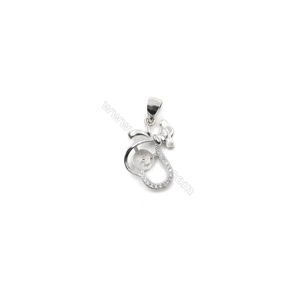 Sterling silver 925 platinum plated zircon pendant, 13x19mm, x 5 pcs, tray 6mm, neddle 0.7mm
