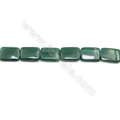 Natural Malachite Gemstone Beads Strand  Rectangle  Size: 15x20mm  Hole 1mm  about 20 beads/strand 15~16""
