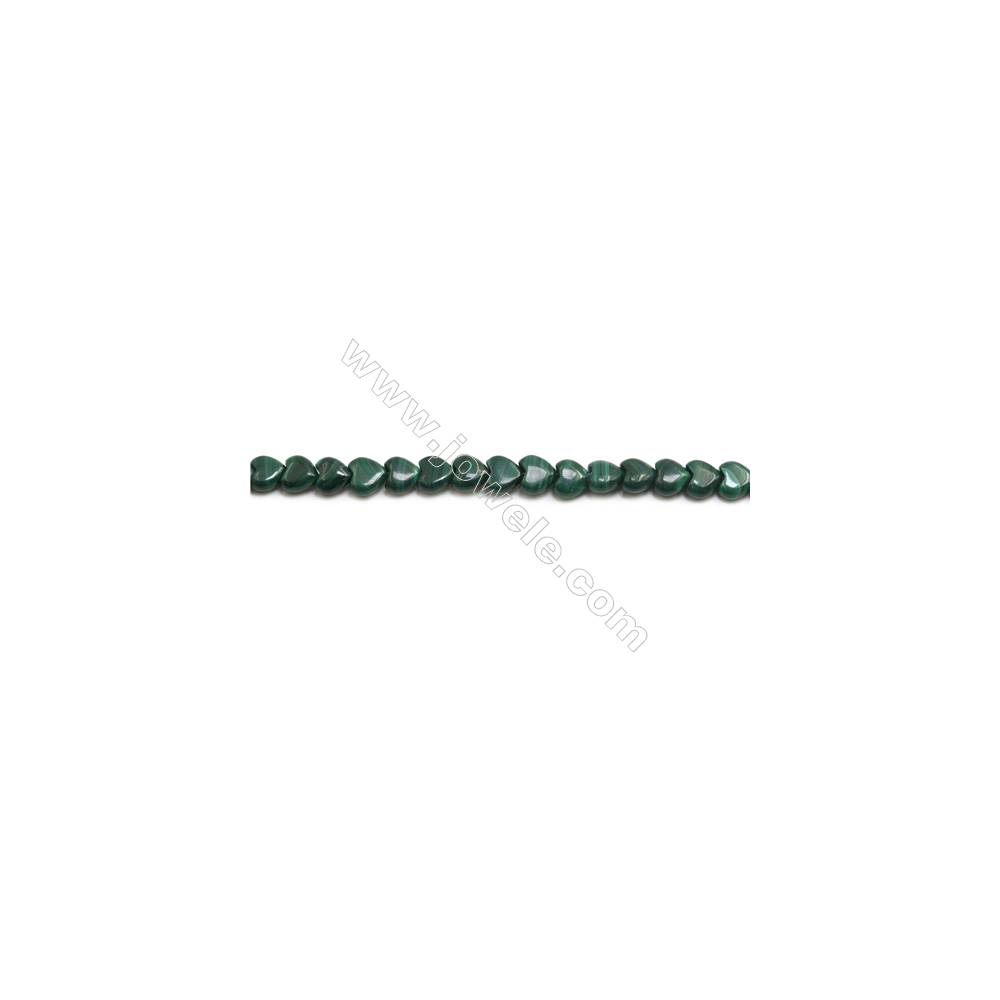 Natural Malachite Gemstone Beads Strand  Heart  Size: 8x8mm  Hole 0.6mm  about 58 beads/strand 15~16""