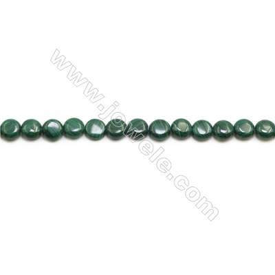 Natural Malachite Gemstone Beads Strand  Flat Round  Diameter 8mm  Hole 0.8mm  about 50 beads/strand 15~16""