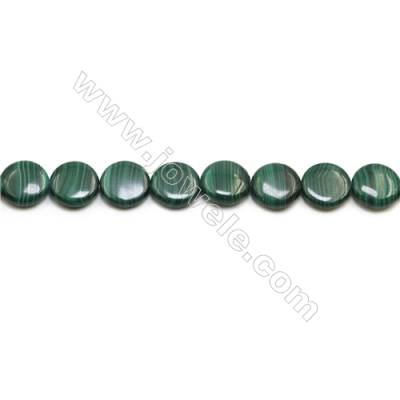 Natural Malachite Gemstone Beads Strand  Flat Round  Diameter 16mm  Hole 0.8mm  about 25 beads/strand 15~16""