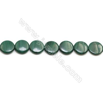 Natural Malachite Gemstone Beads Strand  Flat Round  Diameter 18mm  Hole 0.8mm  about 22 beads/strand 15~16""