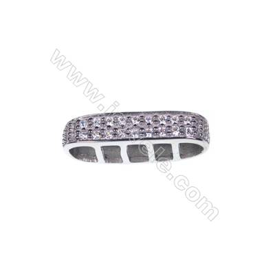 925 sterling silver platinum plated zircon inlaid oval spacer, 7x21mm, x 5 pcs