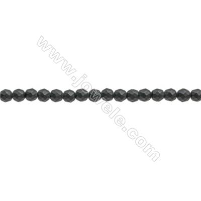 Natural Black Agate Beads Strand  Faceted Round  Diameter 3mm  Hole: 0.6mm  about 122 beads/strand 15~16""
