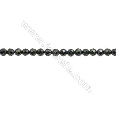 Natural Gemstone Black Spinel Beads Strand  Faceted Round  Diameter 3mm  hole 0.6mm  about 122 beads/strand  15~16""