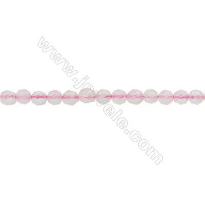 Natural Rose Quartz Beads Strand  Faceted Round  Diameter 3mm  hole 0.6mm  about 137 beads/strand 15~16""