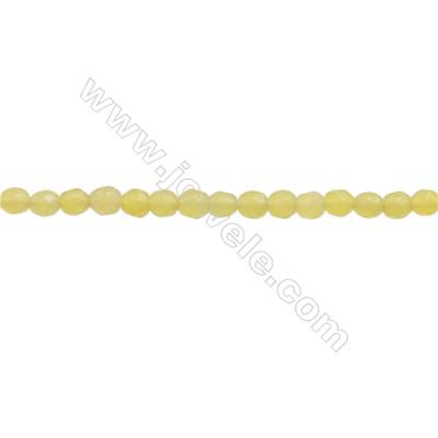 Natural Olive Jade Beads Strand  Faceted Round  Diameter 3mm  hole 0.6mm  about 140 beads/strand 15~16""