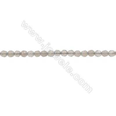 Natural Grey Agate Beads Strand  Faceted Round  Diameter 3mm  hole 0.6mm  about 130 beads/strand  15~16""