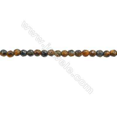 Natural Tiger Eye Beads Strand  Faceted Round  Diameter 3mm  hole 0.6mm  about 136 beads/strand  15~16""