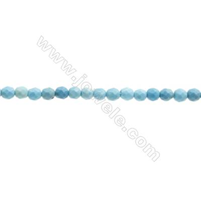 Blue Turquoise Compound Beads Strand  Faceted Round  Diameter 3mm  hole 0.6mm  about 127 beads/strand  15~16""