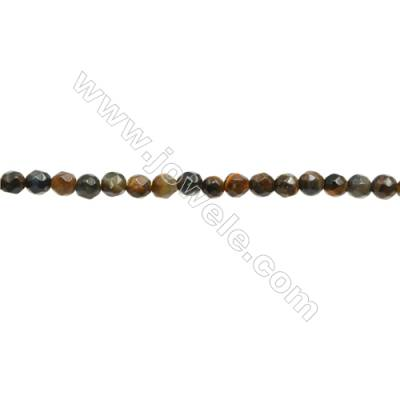 Natural Tiger Eye Beads Strand  Faceted Round  Diameter 3mm  Hole 0.6mm  about 126 beads/strand 15~16""