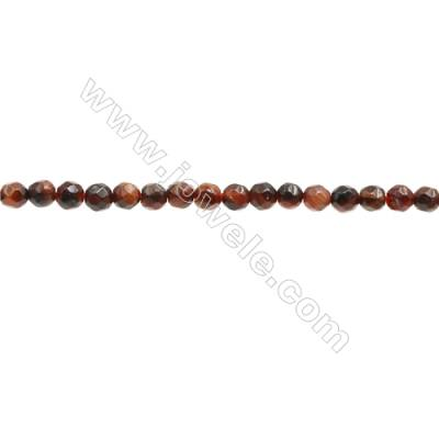 Natural Red Tiger Eye Beads Strand  Faceted Round  Diameter 3mm  Hole 0.6mm  about 128 beads/strand 15~16""