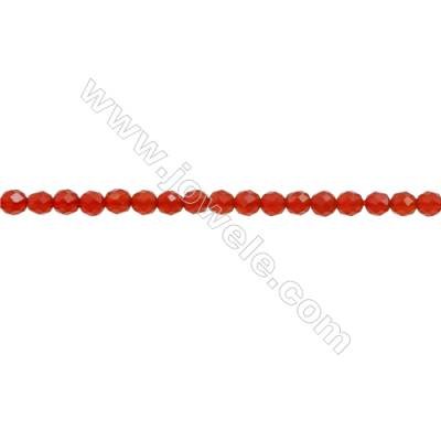 Natural Red Agate Gemstone Beads Strand  Faceted Round  Diameter 3mm  Hole 0.6mm  about 140 beads/strand 15~16""
