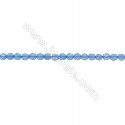 Natural Blue Agate Gemstone Beads Strand  Faceted Round  Diameter 3mm  Hole 0.6mm  about 139 beads/strand 15~16""