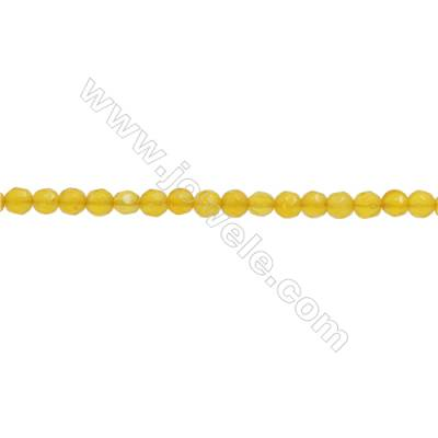Yellow Agate Beads Strand  Faceted Round  Diameter 3mm  hole 0.6mm  about 131 beads/strand  15~16""