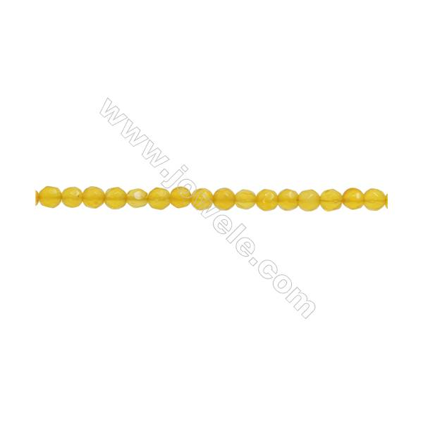 """Yellow Agate Beads Strand  Faceted Round  Diameter 3mm  hole 0.6mm  about 131 beads/strand  15~16"""""""