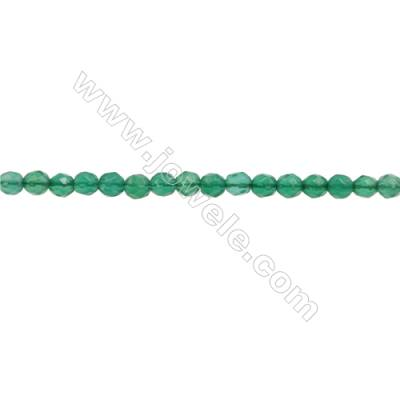 Natural Green Agate Beads Strand  Faceted Round  Diameter 3mm  hole 0.6mm  about 131 beads/strand  15~16""