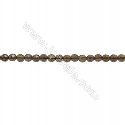 Natural Smoky Quartz Beads Strand  Faceted Round  Diameter 3mm  hole 0.6mm  about 143 beads/strand  15~16""