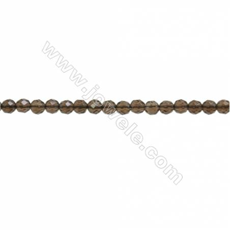 """Natural Smoky Quartz Beads Strand  Faceted Round  Diameter 3mm  hole 0.6mm  about 143 beads/strand  15~16"""""""