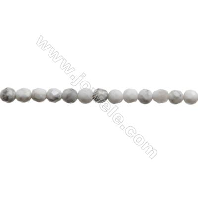 Natural Howlite Beads Strand  Faceted Round  Diameter 3mm  hole 0.6mm  about 117 beads/strand  15~16""