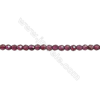 Natural Garnet Beads Strand  Faceted Round  Diameter 3mm  Hole: 0.6mm  about 140 beads/strand 15~16""