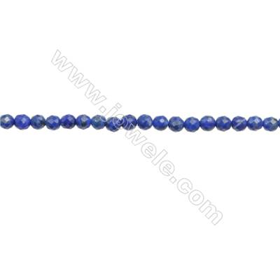 Natural Lapis Lazuli Beads Strand  Faceted Round  Diameter 3mm  hole 0.6mm  about 120 beads/strand 15~16""