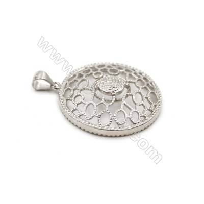 925 sterling silver CZ pendant-D5626 30mm x 5pcs disc diameter 7 mm small needle diameter 0.9 mm
