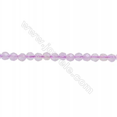 Natural Light Amethyst Beads Strand  Faceted Round  Diameter 3mm  hole 0.6mm  about 124 beads/strand 15~16""