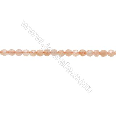 Natural Orange Moonstone Beads Strand  Faceted Round  Diameter 3mm  hole 0.6mm  about 127 beads/strand 15~16""