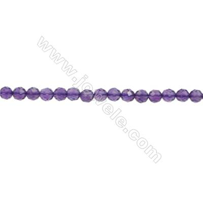 Natural Amethyst Beads Strand  Faceted Round  Diameter 3mm  hole 0.6mm  about 119 beads/strand 15~16""