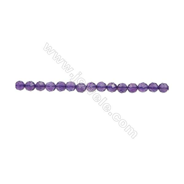 """Natural Amethyst Beads Strand  Faceted Round  Diameter 3mm  hole 0.6mm  about 119 beads/strand 15~16"""""""