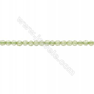 Natural Peridot Beads Strand  Faceted Round  Diameter 3mm  hole 0.6mm  about 140 beads/strand 15~16""