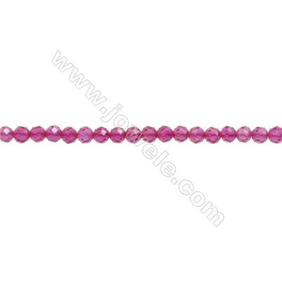 """Synthetic Red Corundum Beads Strand  Faceted Round  Diameter 3mm  hole 0.6mm  about 147 beads/strand 15~16"""""""